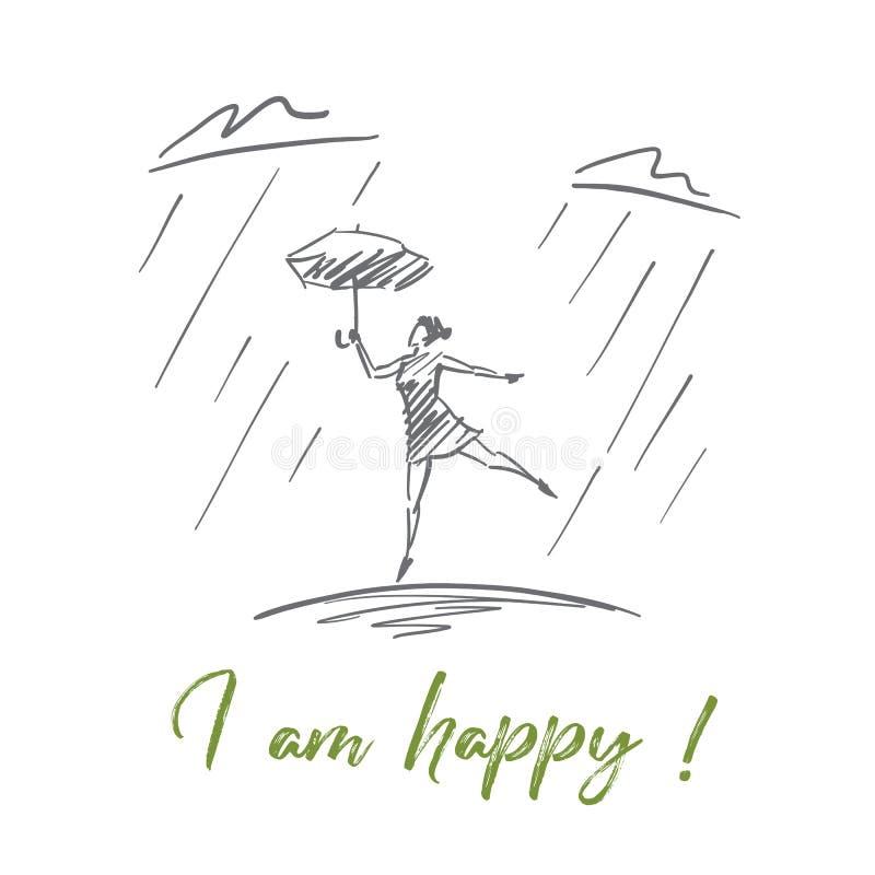 Dé el baile exhausto de la muchacha debajo de la lluvia con las letras ilustración del vector