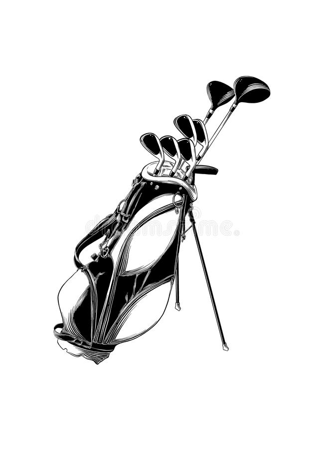 Dé el bosquejo exhausto de la bolsa de golf en negro aislada en el fondo blanco stock de ilustración