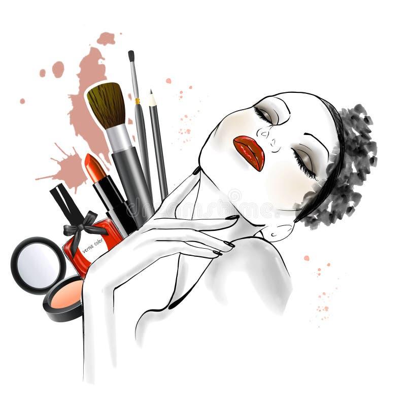 Dé el bosquejo exhausto de la mujer que la cara con diversos tipos de compone en fondo libre illustration