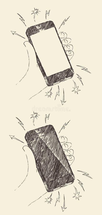 Dé el bosquejo negro exhausto del vector del iPhone del teléfono móvil stock de ilustración