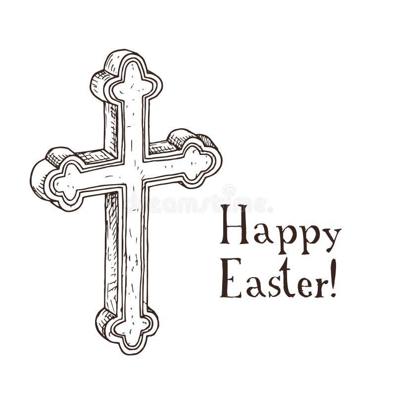 Dé el carte cadeaux blanco y negro exhausto de pascua con la cruz ortodoxa ilustración del vector