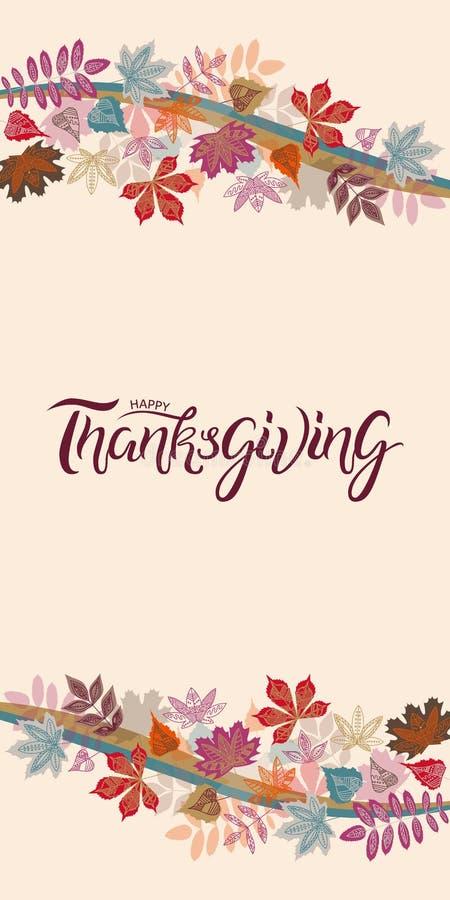 Dé el cartel exhausto de la tipografía del otoño con las hojas coloridas lindas en estilo plano imagen de archivo