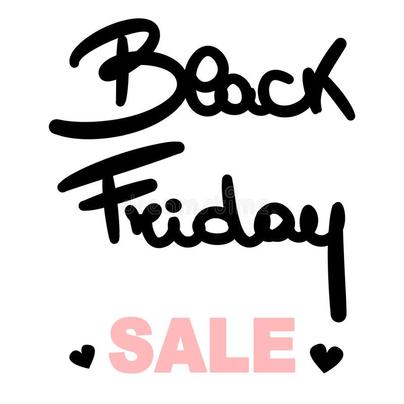 Dé el cartel exhausto de la venta de viernes del negro de las letras con los corazones libre illustration