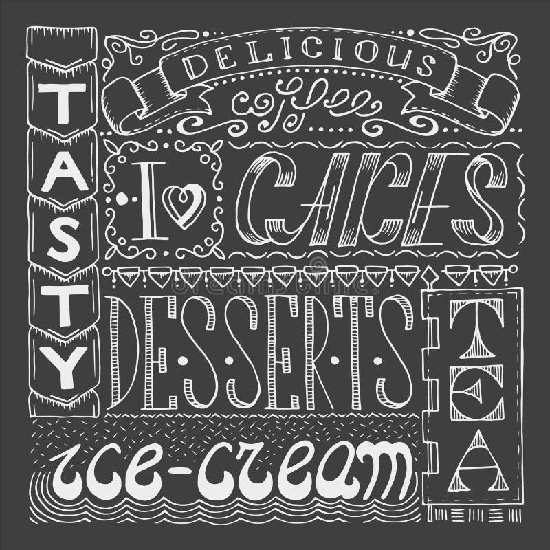 Dé el cartel exhausto del café con collage de diversas palabras del estilo stock de ilustración