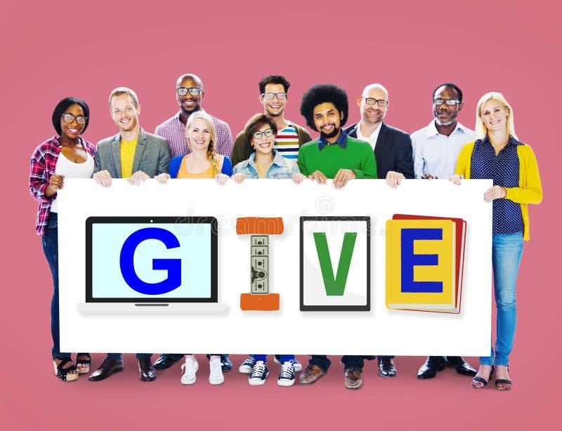 Dé el concepto de la palabra del diseño de la caridad de la ayuda de las donaciones imagenes de archivo
