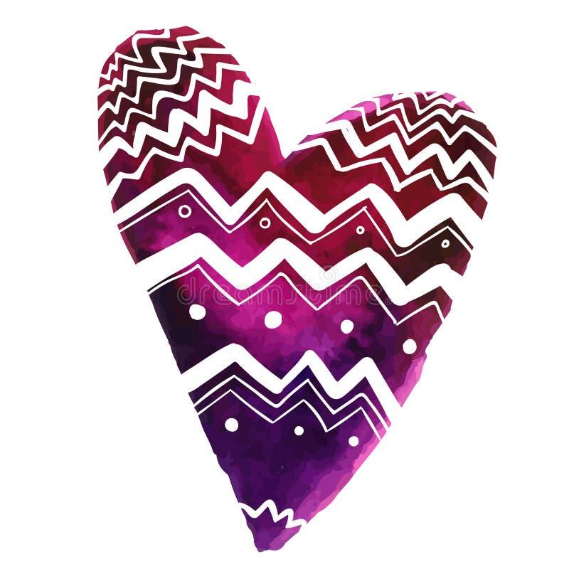 Dé el corazón púrpura exhausto de la pintura de la acuarela con el modelo del blanco de los garabatos stock de ilustración