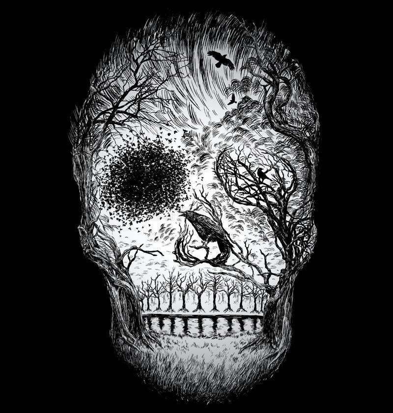 Dé el cráneo abstracto exhausto hecho de árboles y de follaje ilustración del vector