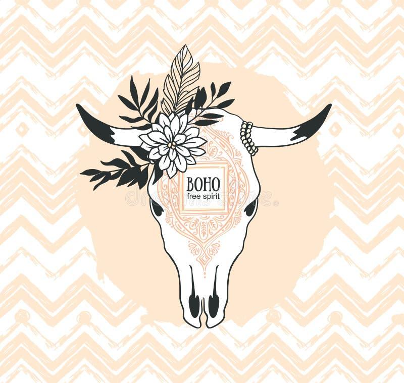Dé el cráneo exhausto de la vaca con el ornamento, la flor y las hojas en el fondo del zigzag Ejemplo bohemio del vector del dise ilustración del vector