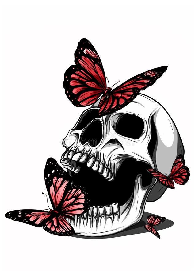 Dé el dibujo de un esqueleto del hueso, dibujo anatómico del hombre pélvico del hueso, impresión para Halloween, mariposas vuelan libre illustration