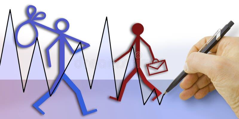 Dé el dibujo de una carta sobre tendencias del empleo y del desempleo - ilustración del vector
