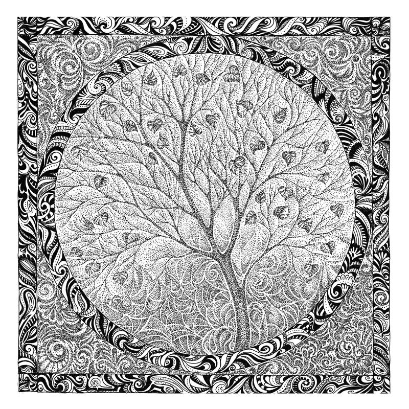 Dé el dibujo, imagen gráfica en el florecimiento del árbol del tema libre illustration