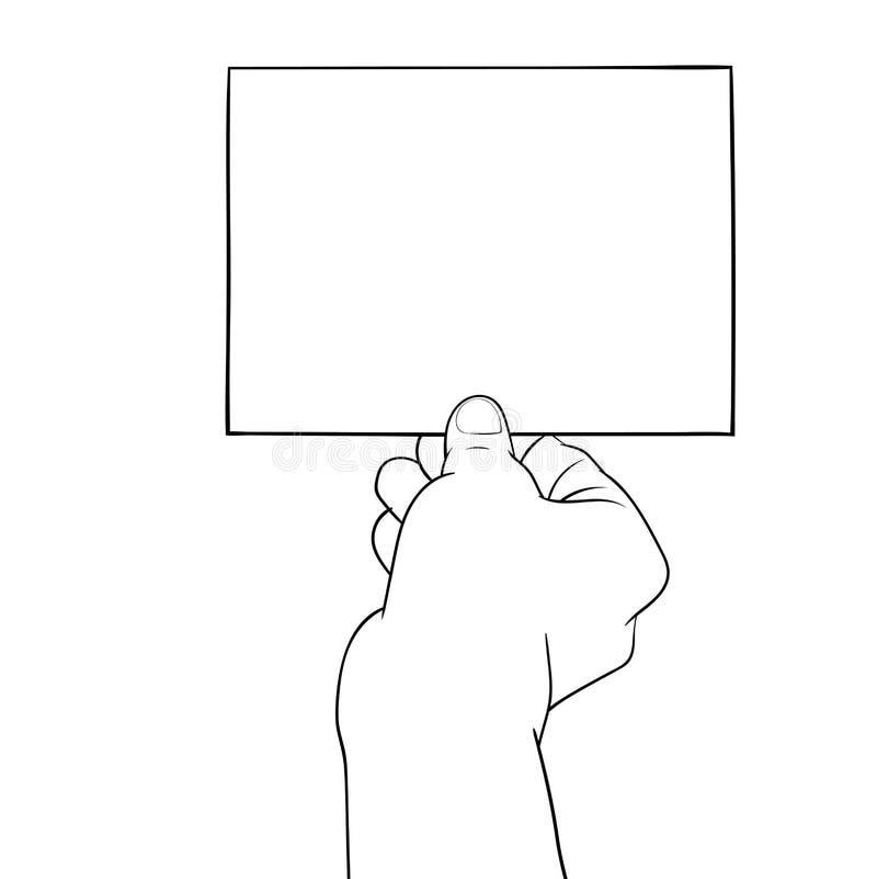 Dé el dibujo, mano que sostiene el papel en blanco - Vector el ejemplo ilustración del vector