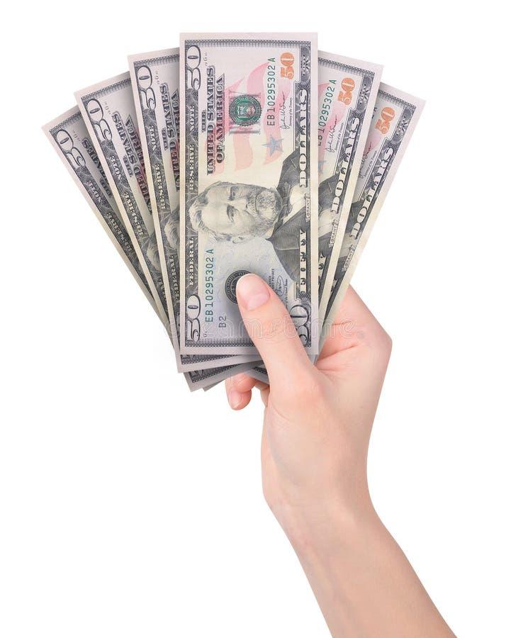 Dé el dinero del efectivo de la explotación agrícola en blanco foto de archivo libre de regalías