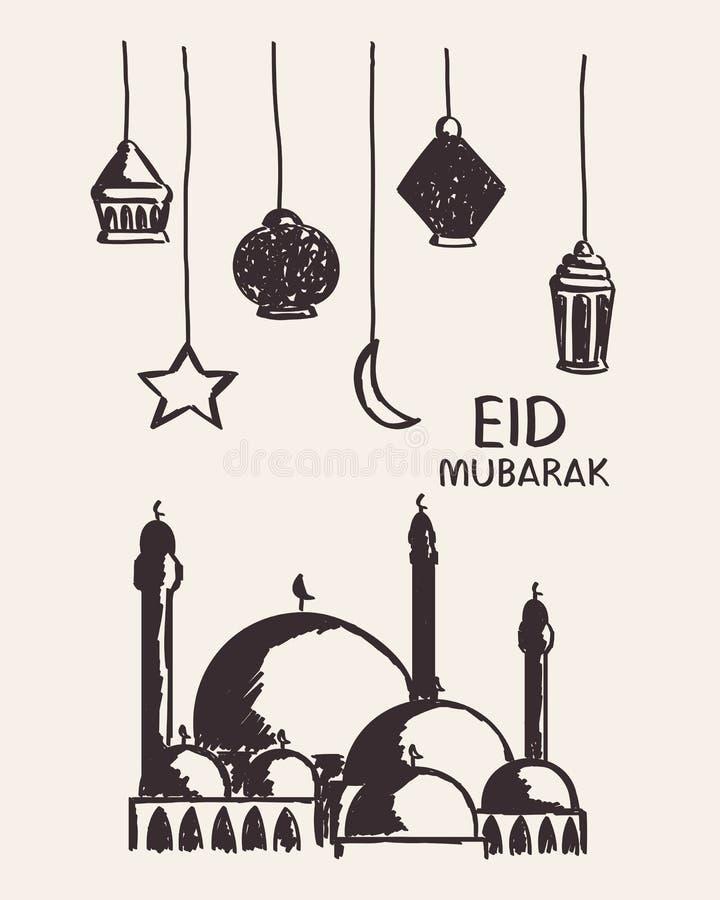 Dé el eid exhausto Mubarak, la mezquita, la estrella, la luna y la linterna fotos de archivo