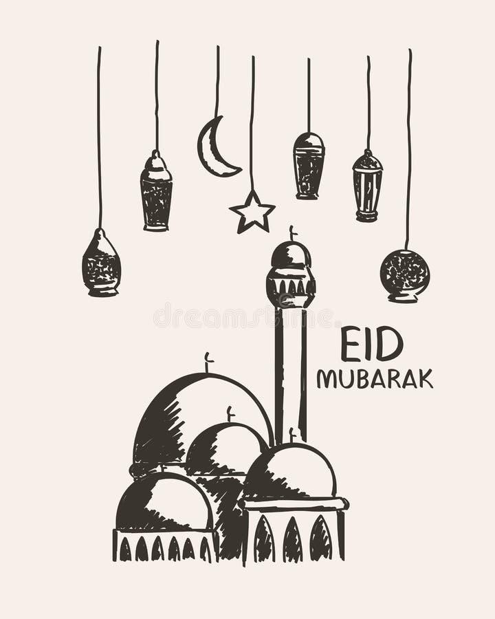 Dé el eid exhausto Mubarak, la mezquita, la estrella, la luna y la linterna imagenes de archivo