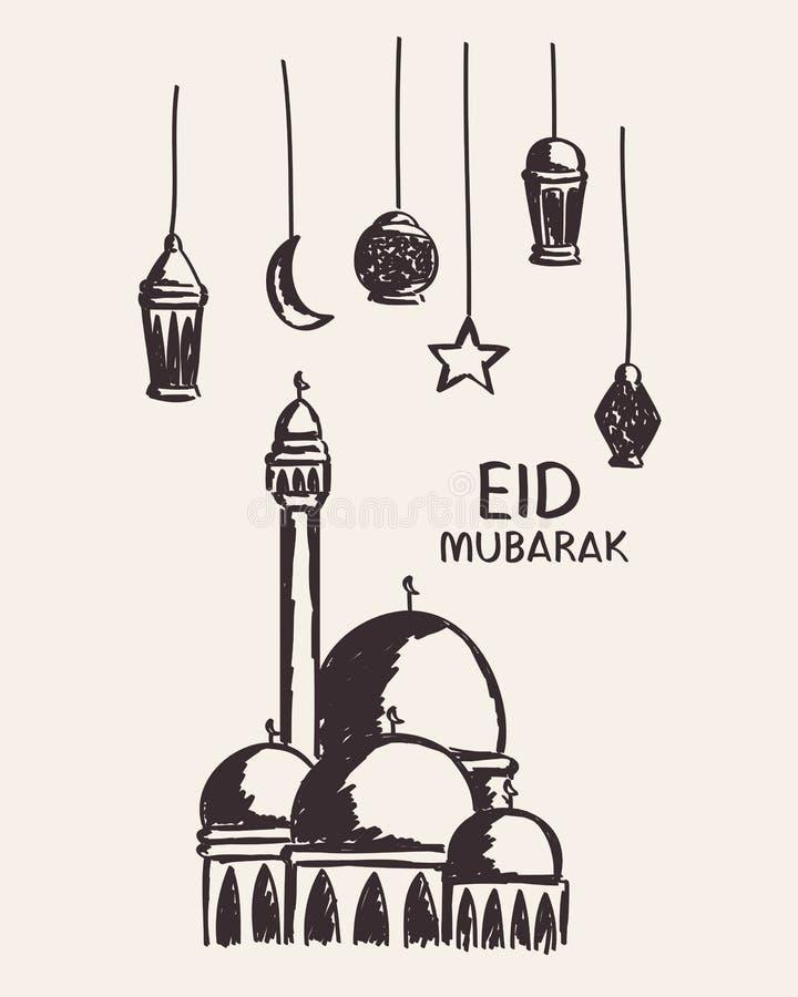 Dé el eid exhausto Mubarak, la mezquita, la estrella, la luna y la linterna foto de archivo libre de regalías