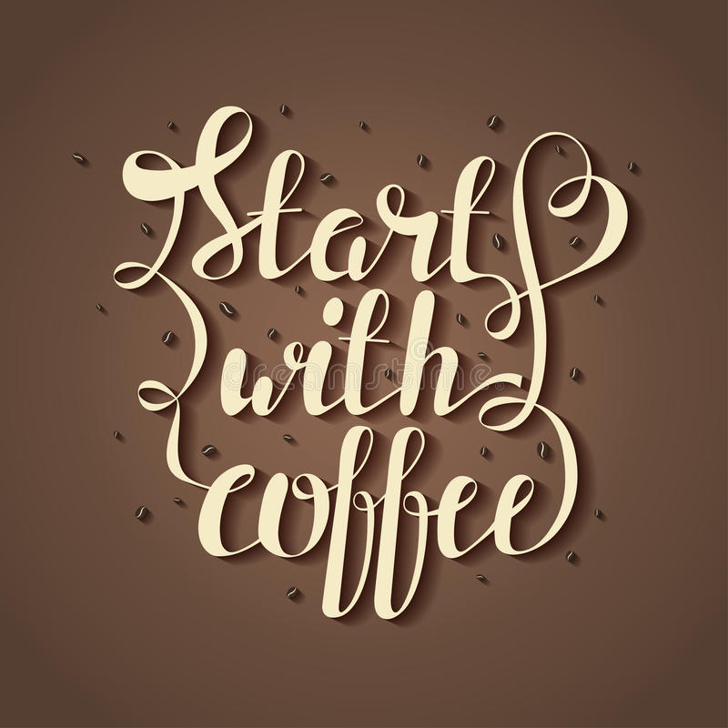 Dé el ejemplo de las letras del drenaje con los granos de café y cite el comienzo con café ilustración del vector