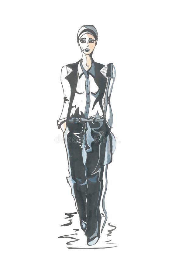 Dé el ejemplo exhausto de una muchacha en ropa blanco y negro Modelo ilustración del vector