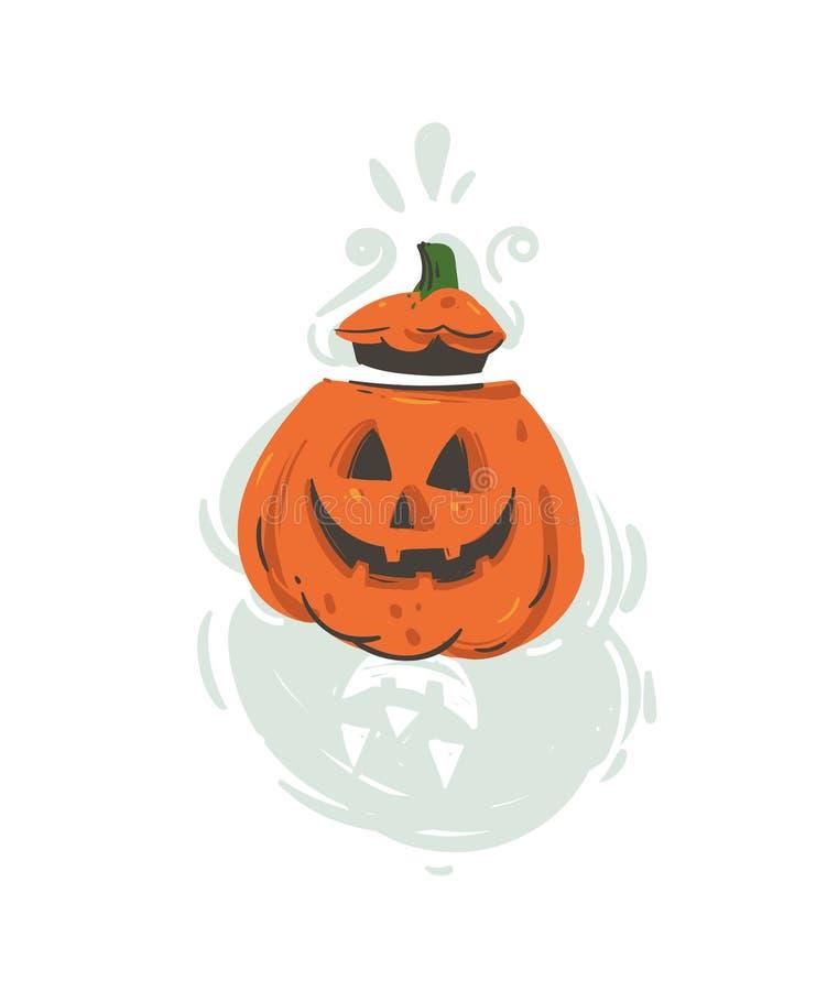 Dé el ejemplo exhausto del feliz Halloween de la historieta del extracto del vector con el monstruo latern de la calabaza aislado libre illustration