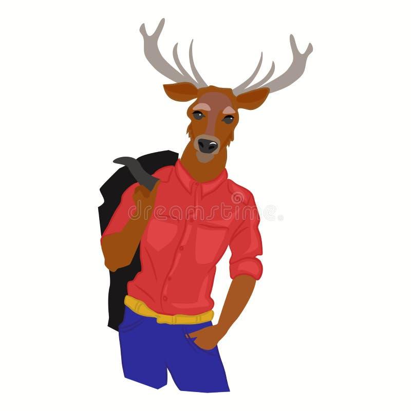 Dé el ejemplo exhausto del hombre de los ciervos con los cuernos vestidos para arriba en ropa fresca Cartel creativo del vector M stock de ilustración