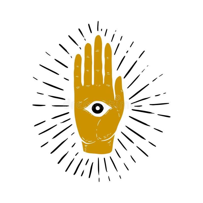 Dé el ejemplo exhausto del resplandor solar, de la mano, y de todo el símbolo del ojo que ve Ojo de Providence Símbolo masónico libre illustration