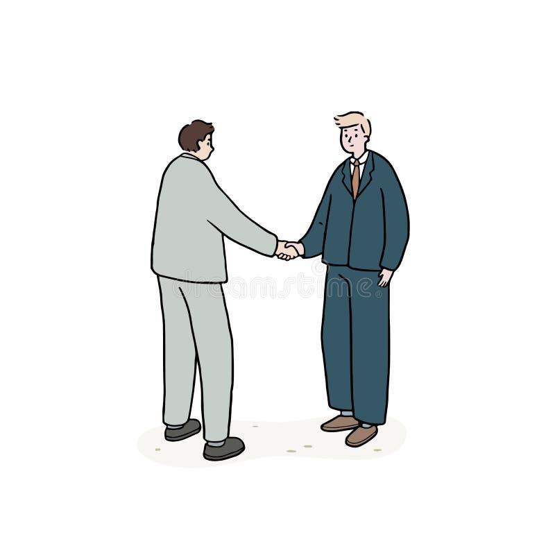 Dé el ejemplo exhausto del vector del apretón de manos del hombre de negocios al socio en el fondo blanco Gente asiática y europe stock de ilustración