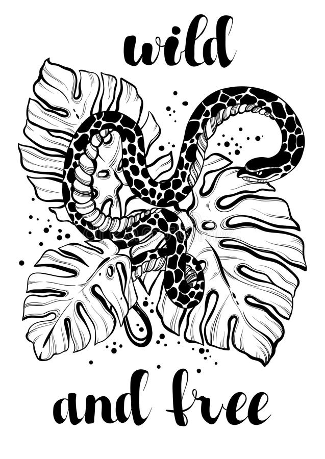 Dé el ejemplo exhausto del vector con la serpiente tropical sobre las hojas de palma Ilustraciones maravillosamente detalladas Ar ilustración del vector