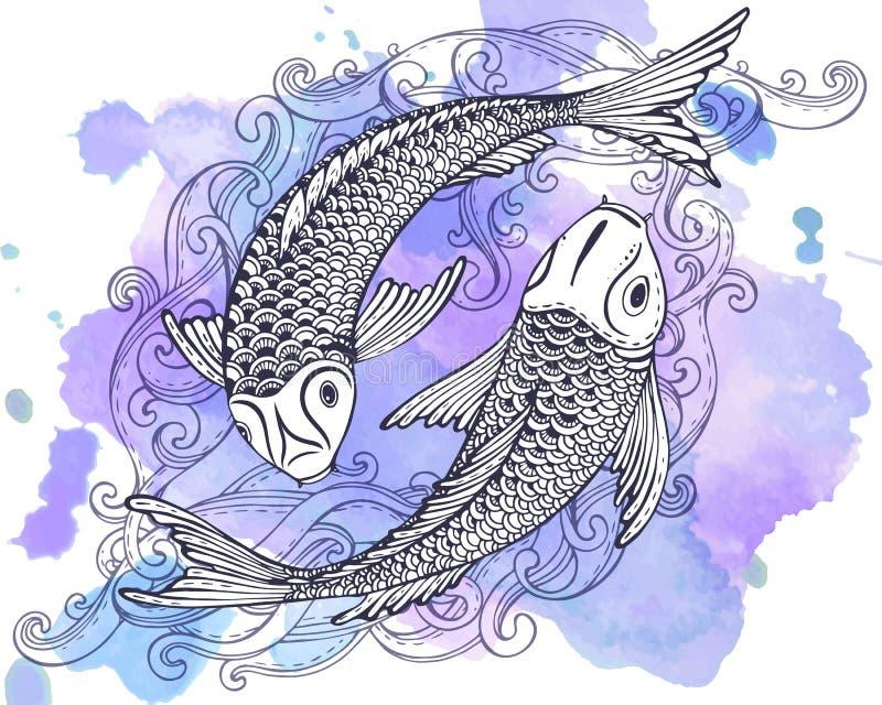 Dé el ejemplo exhausto del vector de dos pescados de Koi (la carpa japonesa) ilustración del vector