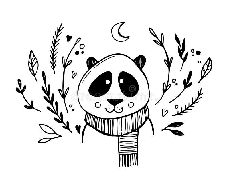 Dé el ejemplo exhausto del vector - panda linda con los elementos florales stock de ilustración
