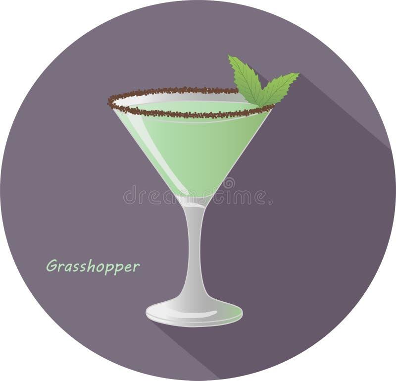 Dé el ejemplo exhausto del vector del saltamontes - dulce americano, menta-condimentado, después de cenar cóctel del alcohol con  ilustración del vector