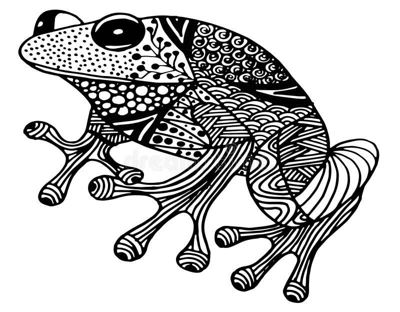 Dé el ejemplo ornamental exhausto de la rana del garabato con los ornamentos del zentangle stock de ilustración
