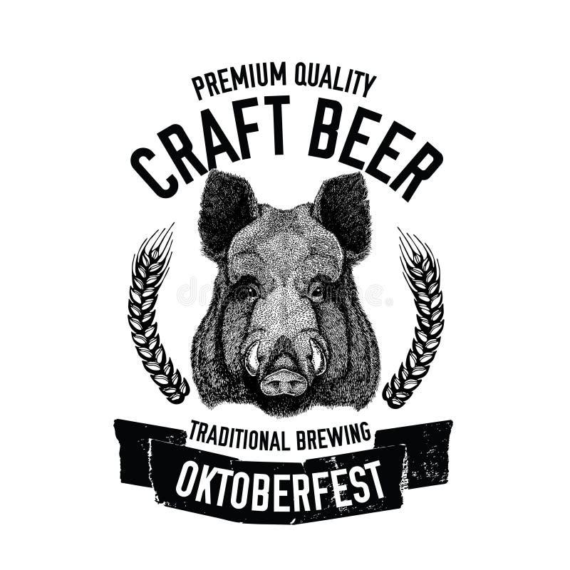 Dé el emblema exhausto de la cerveza con el cerdo salvaje, verraco, plantilla del cerdo para la insignia, logotipo, cubierta del  libre illustration