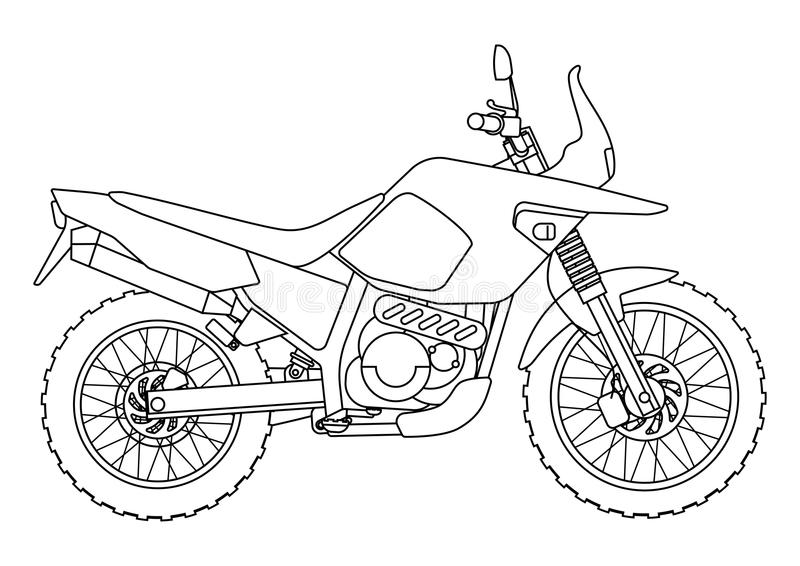 Dé el estilo del drenaje de un nuevo ejemplo de la motocicleta del vector para el libro de colorear stock de ilustración