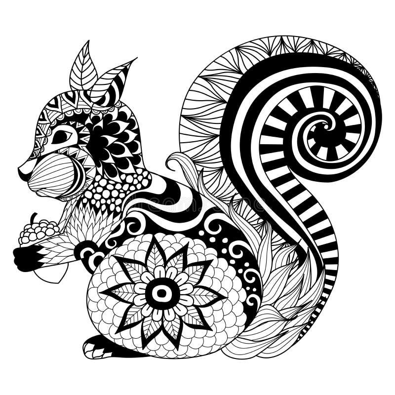 Dé el estilo exhausto del zentangle de la ardilla para el libro de colorear, tatuaje, diseño de la camiseta, logotipo libre illustration
