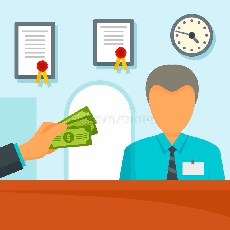 Dé el fondo del concepto del director de banco del dinero, estilo plano stock de ilustración