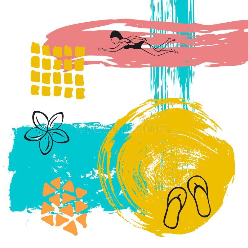 Dé el fondo texturizado y resumido peculiar abstracto exhausto del movimiento del arte de la brocha del tiempo de verano del coll libre illustration