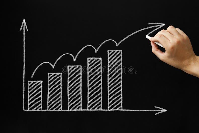 Gráfico del crecimiento en la pizarra imagen de archivo libre de regalías