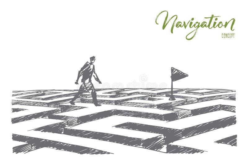 Dé el hombre exhausto que camina en el laberinto a la bandera de la navegación stock de ilustración