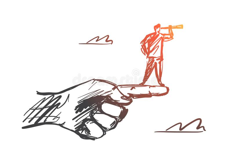 Dé el hombre exhausto que se coloca en el finger con el catalejo libre illustration