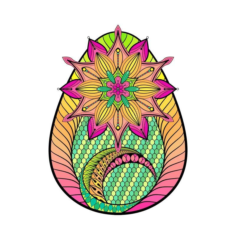 Dé el huevo de Pascua artístico exhausto del color estilizado en estilo del zentangle imágenes de archivo libres de regalías