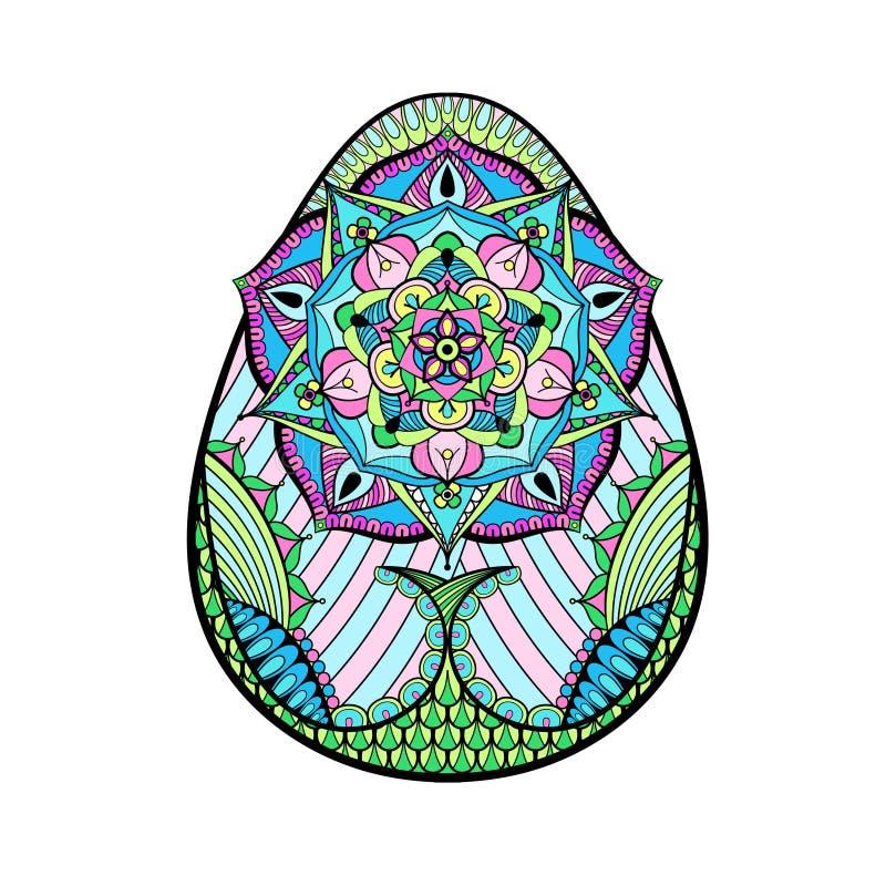 Dé el huevo de Pascua artístico exhausto del color estilizado en estilo del zentangle imagen de archivo libre de regalías