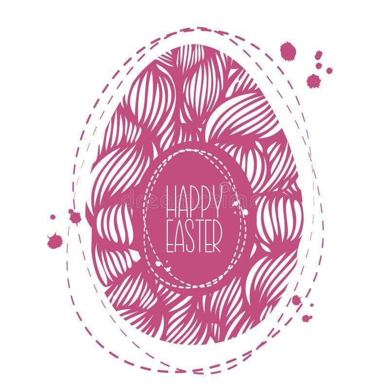 Dé el huevo de Pascua ornamental exhausto con el modelo de onda colorido corte libre illustration