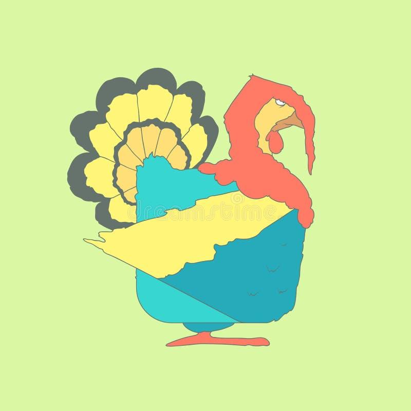 Dé el icono cuadrado plano exhausto Turquía aislada encendido stock de ilustración
