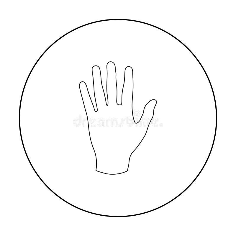 Dé el icono en estilo del esquema aislado en el fondo blanco Parte del ejemplo del vector de la acción del símbolo del cuerpo stock de ilustración