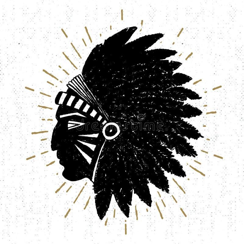 Dé el icono tribal exhausto con un ejemplo americano texturizado del vector del jefe indio stock de ilustración