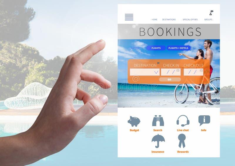Dé el interfaz conmovedor del App de las vacaciones de las reservaciones con la piscina foto de archivo libre de regalías