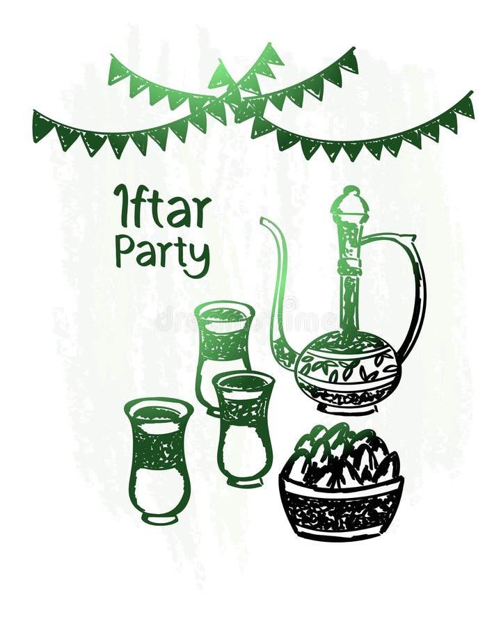 Dé el kareem exhausto del Ramadán, partido iftar, brillo del verde fotografía de archivo