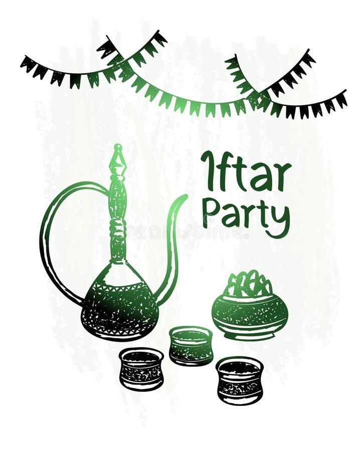Dé el kareem exhausto del Ramadán, partido iftar, brillo del verde imagenes de archivo