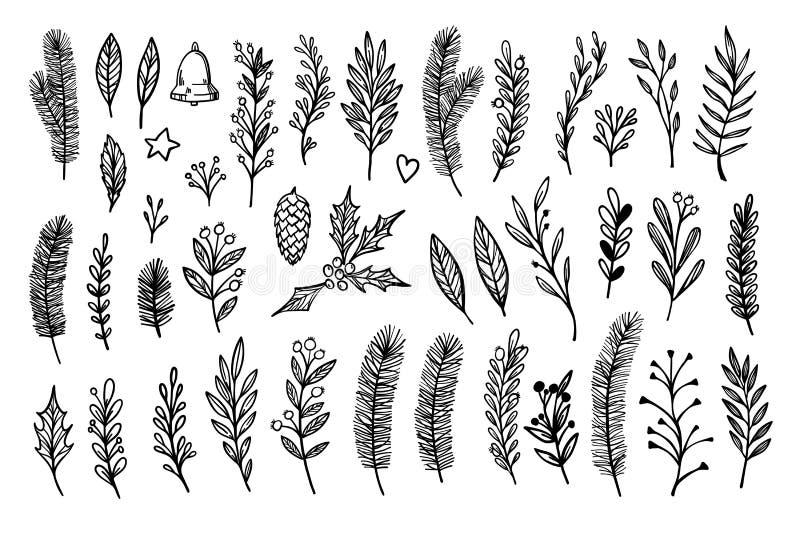 Dé el laurel bosquejado de los elementos del vintage del vector, marco, hoja, poi libre illustration
