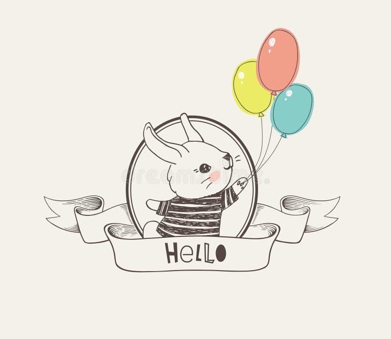 Dé el logotipo o la insignia exhausto con el pequeño conejito lindo vestido en la camiseta rayada que sostiene los globos colorid libre illustration